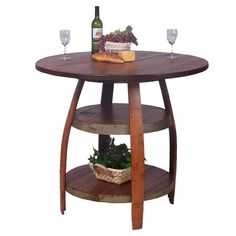 Bistro table crafted from a recycled oak wine barrel. Product: Bistro table  Construction Material: Pine, MDF, s...