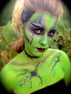 Daughter of Frankenstein!! Green monster bride of frankenstein skull dead halloween costume makeup girl love amazing crazy body painting face painting body art face art