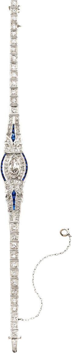 Art Deco Diamond, Sapphire, Platinum Bracelet