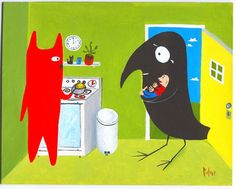 Cat and Crow ACEO Art Print - Crow Finds A Stray Man - Rescue Dog Art - Green kitchen on Etsy, $3.00