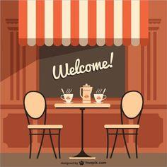 Terraço do café com mensagem de boas vindas