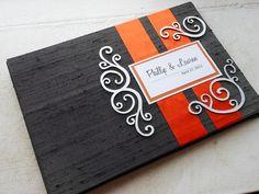 Orange gris et livre d'or de noces d'argent par EnvelopeGuestBooks, $47.00