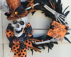 Trick or Treat Wreath Halloween Wreath Spider от TheBakersDaughter