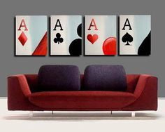 """Poker Art - Four Ace Series """"Natural Aces"""" for the game room Canvas Wall Decor, Home Wall Decor, Home Music, Pokerface, Game Room Decor, Casino Theme, Oil Painting On Canvas, Acrylic Paintings, Card Games"""