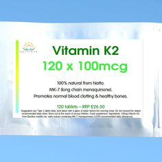 120 TABLETS VITAMIN K2 100mcg (Menaquinone MK7 High Strength) natural from Natto in Health & Beauty, Vitamins & Dietary Supplements, Vitamins & Minerals | eBay ~gbp 13.25  2.50 pp