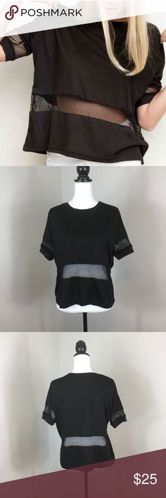 Brandy Melville Mesh Manoela Tee Brandy Melville Mesh Manoela Tee in Black. One size. Approximate measurements flat laid are 22' long and 22' bust. Excellent used condition. Brandy Melville Tops Tees - Short Sleeve