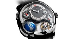 THE GMT, ROBERT GREUBEL AND STEPHEN FORSEY    The GMT offers an original method of visualising world time by means of a rotating three-dimensional globe in conjunction with a second time zone indication. A 25° inclined Tourbillon 24 Secondes escapement regulates the timing of the movement.    The globe simultaneously permits the visualisation of the time as well as the position of day and night across different continents via the 24-hour ring around the equator and the caseband window, which…
