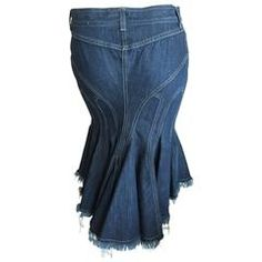 e00a9f3725e Alexander McQueen Amazing Vintage Sculpted Denim Skirt w Fishtail Back Size  38 Fishtail Skirt