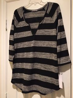 Loveappella Oliver Faux Leather Trip Striped Top  Try Stitch Fix for yourself: https://www.stitchfix.com/referral/4004291