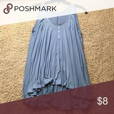 Oversized soft grey blue tank Flowy, comfortable, and cute tank perfect for causal wear. Tops Tank Tops