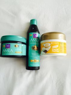 Products I use for my natural hair;  Amla hair treatment mask  Amla black shampoo & Revlon shea butter