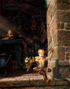 this version of jack and the beanstalk is called the giant killer. in the image shows jack attempting to sneak away from the cheat with the object that he stole