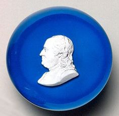 "Benjamin Franklin Sulphide Paperweight"" by Clichy Glasshouse, ca. 1850. Currier Museum of Art."