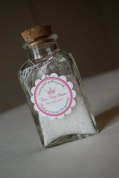 Fairy dust! This is for a baby shower but I still like the idea for my girl. Glitter as Fairy dust.