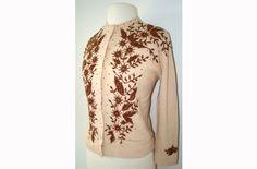 Gold Ivory Beaded 1950's Sweater 50s Cardigan. $65.00, via Etsy.