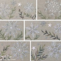 "Embroidered snowflakes from the ""A Scattering of Snow - table mat"" pattern by Melissa Grant of One Day in May."