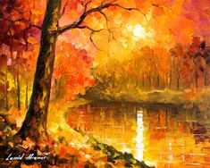 Over The Horizon — Palette Knife Bright Orange Oil Painting On Canvas By Leonid…
