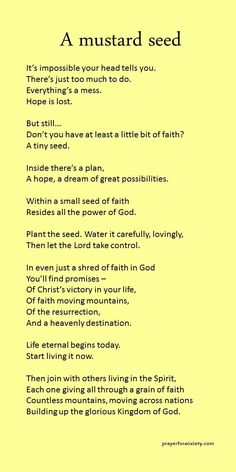 A mustard seed – Prayer For Anxiety Prayer Scriptures, Bible Prayers, Faith Prayer, Prayer Quotes, Faith In God, Faith Quotes, Spiritual Quotes, Bible Quotes, Bible Verses