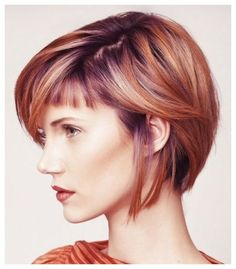 This pretty look, created by stylist Elysia Purnell, features bold details, shyly placed, creating a coy and surprisingly delicate look. A classic bob outline and clever color placement minimize t...