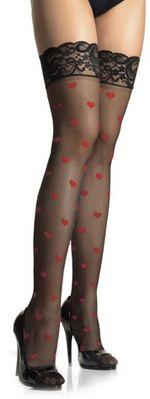 Leg Avenue Sheer Lace Top Hearts Stockings-O/S - Unique Vintage - Prom dresses, retro dresses, retro swimsuits.