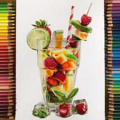 Colored Pencil Artwork, Color Pencil Art, Colored Pencils, Colorful Drawings, Cute Drawings, Girl Drawings, Kristina Webb, Dessert Illustration, Copic Drawings