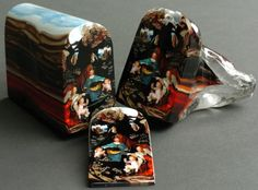 "This is a glass ""murrine"" made by artist Loren Stump. Each color in the piece was carefully layered to create this ""loaf"" which was then sliced. Each slice sold for $5000."