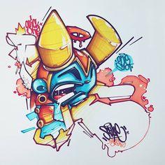 No photo description available. Graffiti Cartoons, Graffiti Characters, Cartoon Characters, Character Concept, Character Art, Character Design, Graffiti Drawing, Street Art Graffiti, Badass Drawings