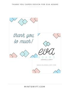 Brand Design for Eva Adams Collateral Design, Brand Identity Design, Brand Design, Thank You Card Design, Thank You Note Cards, Diamond Illustration, Logo Design Tips, Graphic Design, Web Design Packages