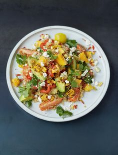 Grilled Corn and Quinoa Salad Mango, Tomatoes, Herbs, Avo, Feta - The Happy Foodie
