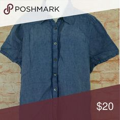 Lands end chambray denim shirt 2x 100 linen Touch of wear only Chest flat is 27 inch Length 27.5 inch Lands' End Tops Button Down Shirts
