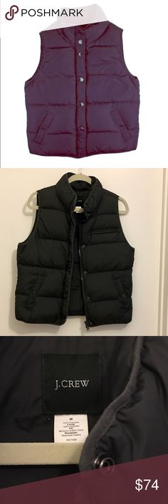 """J Crew Navy Blue Goose Down Puffer Vest Super comfy goose down puffer vest from j crew! Worn once, in excellent condition. One minor mark on one of the buttons is shown in photo. Has snap and zipper closures, vest is filled with goose down. Measures 38"""" bust, total length is 21.5"""". Happy to answer any additional questions! J. Crew Jackets & Coats Vests"""
