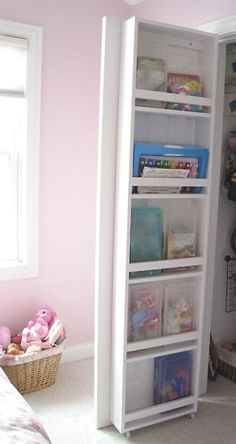 Closet door storage...great for often used patterns and books.