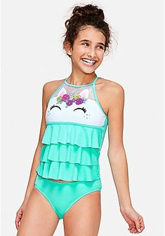 Justice is your one-stop-shop for on-trend styles in tween girls clothing & accessories. Shop our Unicorn High Neck Tiered Tankini. Outfits For Teens, Summer Outfits, Casual Outfits, Cute Outfits, Unicorn Fashion, Unicorn Outfit, Kids Swimwear, Swimsuits, Tankini