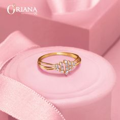 Adorn yourself with this captivating and timeless beauty from Oriana! Get 15 % off* on Diamond Value! Gold Ring Designs, Gold Earrings Designs, Gold Jewellery Design, Bracelet Designs, Indian Jewelry Earrings, Diamond Jewelry, Gold Finger Rings, Gold Rings, Silver Pooja Items