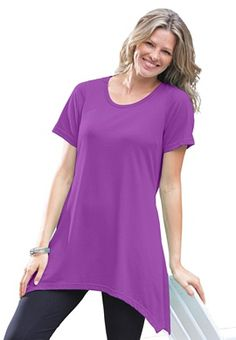 Top in soft knit, tunic length with pointed hem