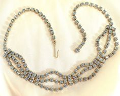 Vintage Light Blue Rhinestone 3-Strand Necklace by MarlosMarvelousFinds on Etsy