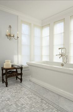 Beautiful classic bathroom with pale grey walls & Carrera Marble | Murphy Co. Design, Susan Gilmore [photo], interior design – Marita Simmons  #bathroom #grey #gray #neutrals #coolgrey #interiors #paintcolours