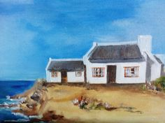 Fisherman's Cottages II - Oil on Canvas. Fabric Paint Designs, White Cottage, Beach Cottages, Crochet Dolls, Seaside, Oil On Canvas, Art Photography, Art Ideas, Motivational Quotes