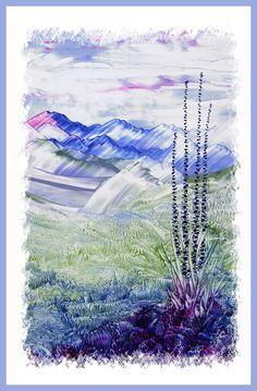 Berglandschap geschilderd met bijenwas door Beika Kruid Wax Art, Encaustic Painting, World, Videos, Illustration, Wax, Shop Signs, Kunst, Illustrations