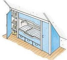 For savvy home improvement, the installation of a bunk with double-sided lei . - For savvy home improvement, the installation of a bunk with double-sided lei … – Dachschräge - Attic Bedrooms, Kids Bedroom, Linen Cupboard, Attic Remodel, Attic Spaces, Diy Home Improvement, My New Room, Home Renovation, Basement Renovations