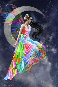 Rainbow fairy sitting on a crescent moon.