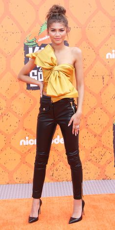 Zendaya Stuns in Moschino Bow Top and Leather Pants at Kids' Choice Sports Awards from InStyle.com