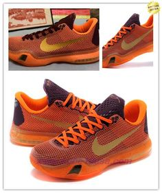 "Nike Kobe 10 ""Silk"" 705317-331 Merlot/Villain Red-Total Orange-Metallic Gold Mens For Cyber Monday"