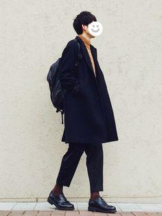 ブラウンをアクセントにしました◎ しっかりしたモックネックが暖かいです。 コート L ニット XL パンツ M 靴 7.5