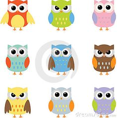 Owls, Color owls clip art by Yulia87 on Dreamstime