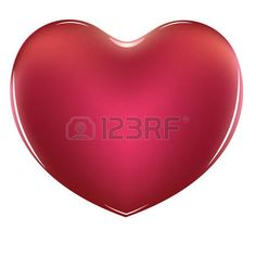 Red glossy heart icon, illustration on white background. photo