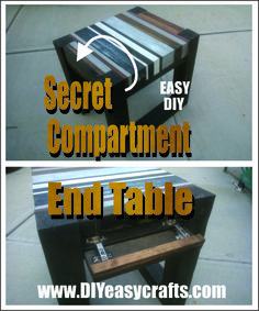 How to Build a DIY Secret Hidden Compartment End Table. We found plans for this end table on the web @ Roque Engineering. We modified those plans to include a secret easy access hidden compartment which can be used to store anything from keys or money to a hand gun. For Free plans check us out on the web  http://www.diyeasycrafts.com/