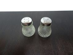 Vintage Clear Glass Hobnail Style Salt and by DaysLongGoneSalvage