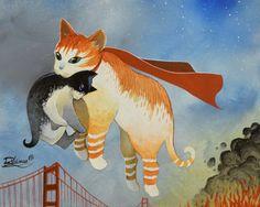 """ HEROIC CAT IN SAN FRANCISCO "" by Raphaël Vavasseur art  http://ift.tt/1WKrNAJ"