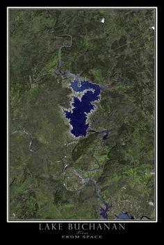 Lake Buchanan Texas Satellite Poster Map